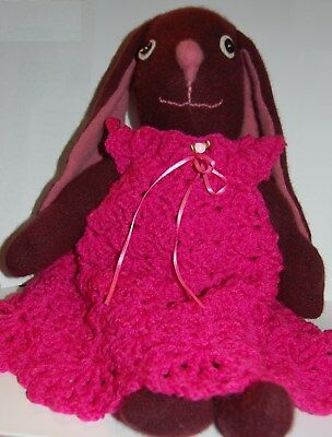 Primitive Folk Art Easter Bunny Rabbit Maroon Cashmere Wool Shelf Sitter Doll