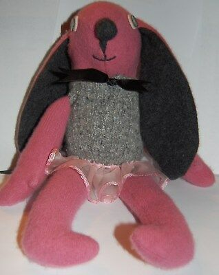 Primitive Folk Art Easter Bunny Rabbit Mauve Cashmere Wool Shelf Sitter Doll