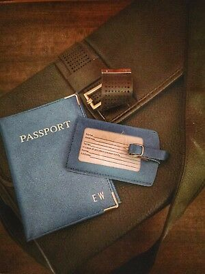 Personalised Leather Passport Holder And Luggage Tag - Blue Wolf Colour