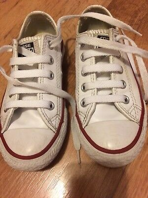e3cadf6f6131 Kids White Leather Converse Trainers - Girls Boys (Unisex) Size 10