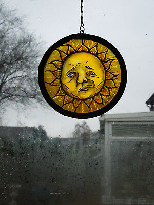 Interesting Stained Glass Sun Medieval Victorian Style