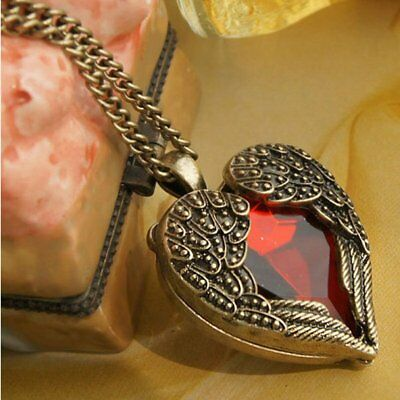 Fashion Vintage Love Heart Angle Wing Pendant Necklace Women Jewellery Costume
