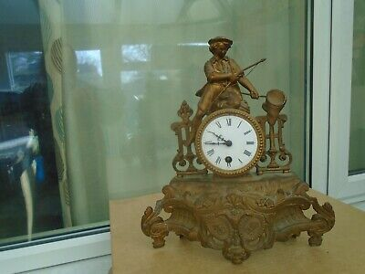 large antique gilt spelter mantle clock with FISHERMAN    nice attic find clock