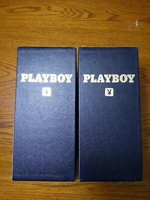 2 - Playboy Magazine Leatherette Holders Navy/Gold