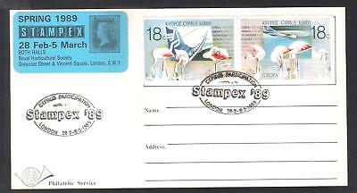 Cyprus 1989 Europa Cyprus Airways Plane Used London Stampex Cancel Postcard