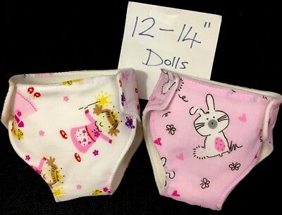 "2 Dolls Nappies Fits Little Baby Born Baby Alive 1st Annabell 12-14""dolls"