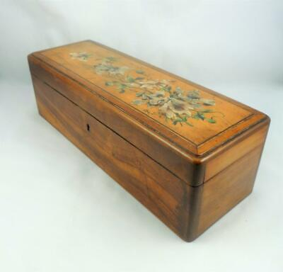 Antique French Olive Wood Painted Flower Padded Jewellery Fan Glove Box c1900