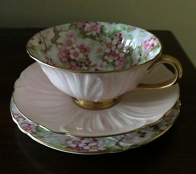 Shelley Maytime Cherry Blossom Chintz Tea Cup, Saucer and Plate Trio Set