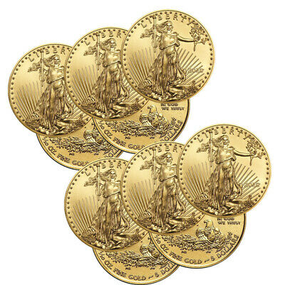 Lot of 10 Gold 2019 Gold 1/10 oz Gold American Eagle $5 US Mint Gold Eagle Coins
