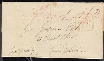 Ireland 1835 Philipstown to Dublin PAID double at 1/2d - see description