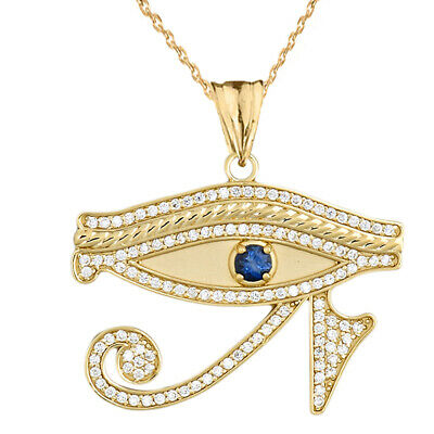14k Yellow Gold Eye of Horus with Blue Cubic Zirconia  Pendant Necklace