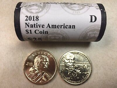 ~H/t~ 2018 D Bu Sacagawea / Jim Thorpe Native American Gold $25 Dollar Roll