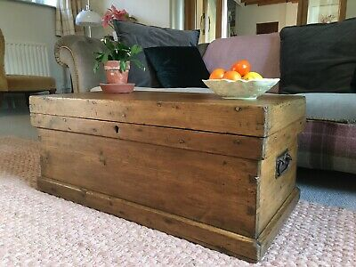 Old ANTIQUE PINE CHEST, Wooden Blanket TRUNK, Coffee TABLE, Vintage BOX Storage