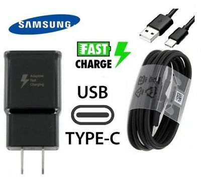 OEM Samsung Galaxy S8 S9 Plus Adaptive Fast Travel Wall Charger 4FT Type-C LOT