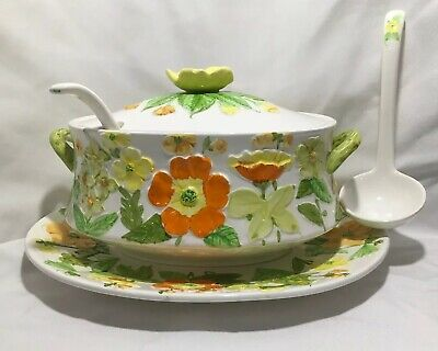 Retro Lefton Daisy Soup Tureen Ceramic Orange Yellow Green w Stickers