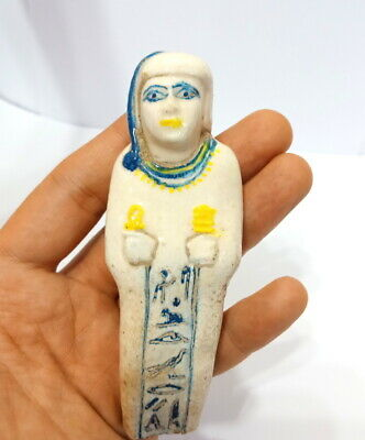 Rare Ushabti Statuette Faience Ancient Royal Amulet Egypt Antique Psamtek Shabti