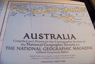 National Geographic AUSTRALIA MAP 1948 detailed physical and political