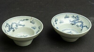 A Pair OF Chinese Antique/Vintage Porcelain Blue N White Teacups