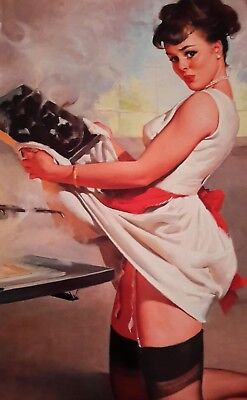 "VINTAGE PIN UP GIRL BURNING THE BAKING... 7x5"" PICTURE PRINT WALL ART"