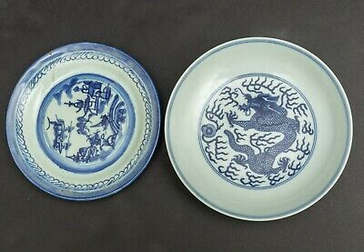 A Pair Of Chinese Antique/Vintage Blue N White Plates