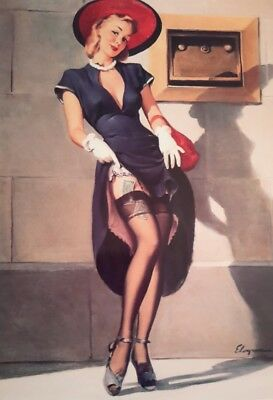 "VINTAGE GLAMOUR PIN UP GIRL MONEY GIL ELVGREN 7x5"" PICTURE PRINT WALL ART"