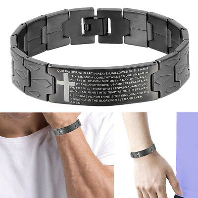 """Black English Lords Prayer Our Father Cross Stainless Steel Mens Bracelet 8.3""""US"""