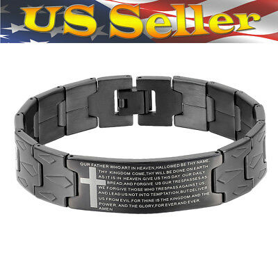 """Fashion Black English Lords Prayer Our Father Cross Stainless Mens Bracelet 8.3"""""""