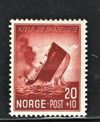 Hick Girl Stamp-Beautiful Mh. Norway Stamp   Sc#b37   1944 Issue   L634
