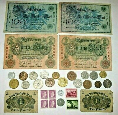 GERMANY WWII COINS WITH SWASTIKAS! GERMAN STAMPS, BANKNOTES, WORLD COINS! m47