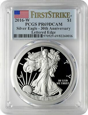 2016-W $1 American Silver Eagle Lettered Edge PCGS PR69DCAM First Strike