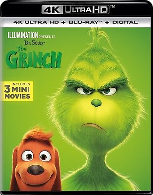Dr. Seuss' THE GRINCH (4K Ultra HD/Blu-ray/Digital HD, Brand New With Slipcover