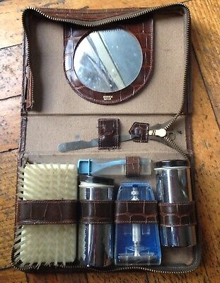 Vintage Robex Calf Men's Grooming Shaving Kit Leather England FATHER'S  DAY