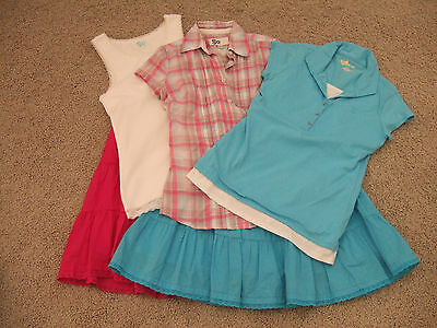 Girls 5 pc Spring Clothes Mixed Lot Skirts Shirts Size Large 12 Size 14 EUC