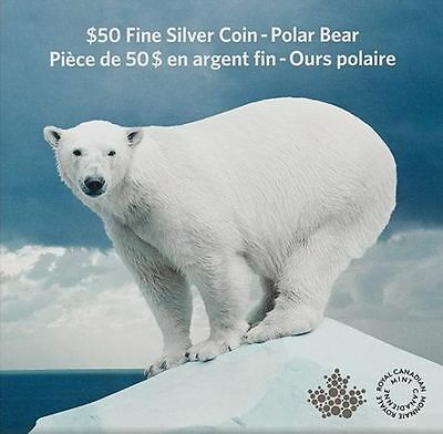 Canada 2014 $50 Silver Polar Bear coin with COA 99.99% pure FREE SHIPPING