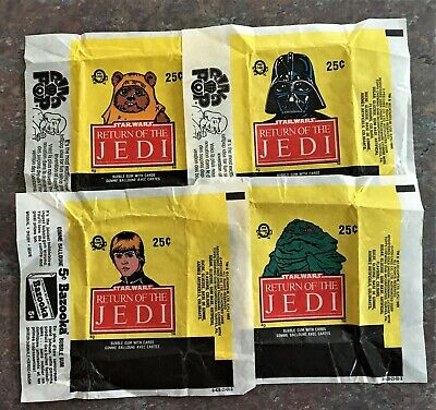 Star Wars Return of the Jedi Card Wrappers.  Four different. 1983.