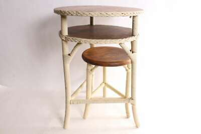 Rare Vintage Wicker With Oak Top Telephone Table Stand & Stool