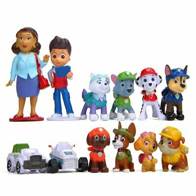 12 PCS Paw Patrol Toys Action Figure Cake Toppers Decoration Boy Tracker Ryder