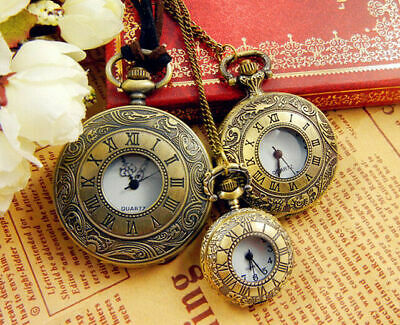 Classic Antique Vintage Pocket Watch Quartz Movement Chain Necklace Pendant Gift
