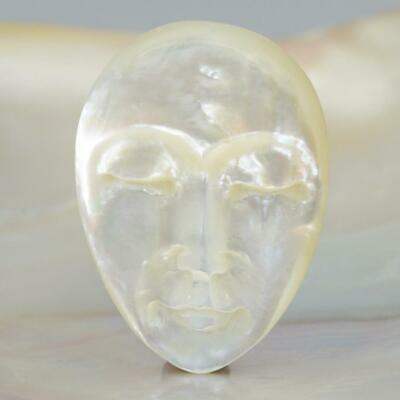 Lustrous Mother-of-Pearl Shell Face Cameo-style Carving Cabochon 5.14 g
