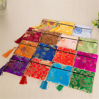 1x Silk Jewelry Chinese Style Coin Tassel Zipper Pouch Bags Wedding Party GiftJC