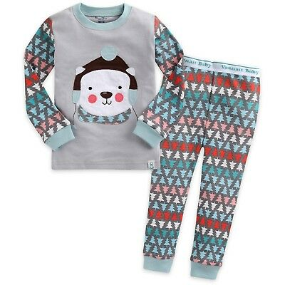 "Vaenait Baby Toddler Kids Girl Boy Clothes Pyjama Set ""Wool Hat Bear"" M(3T)"