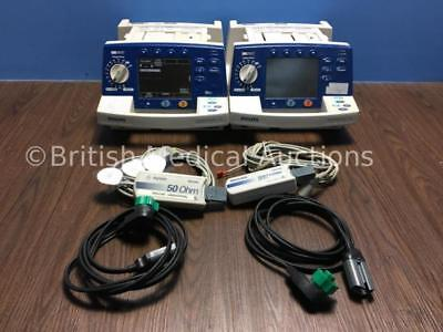 2 PHILIPS Heartstart XL AED Defibrillator with Pacing and Cables M4735A