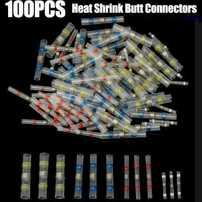 100pc Waterproof Solder Sleeve Heat Shrink Butt Wire Splice Connectors Terminal