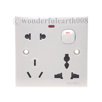 3 In 1 US/AU/UK/EU/ One Gang Wall Outlet Plate Socket W/ Switch 110~250V 10A