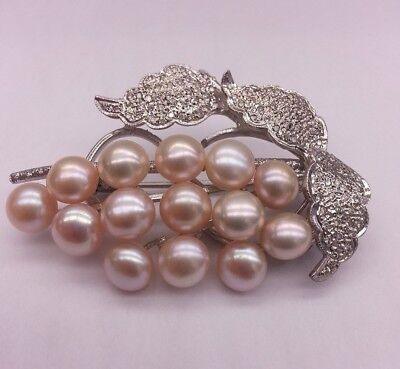 Vintage 14K White Gold Brooch with 8mm Pearls & Diamonds 1.5ctw
