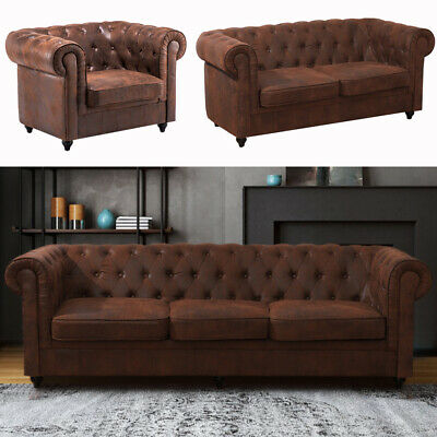 Chesterfield Fireside Wing Armchair 3+2+1 seater Sofa Settee Antique Tan Leather