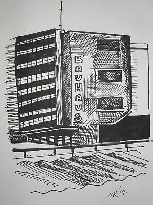 DAILY SKETCH:Original Ink Drawing 'Bauhaus 100 Anniversary' by Michelle Ranson