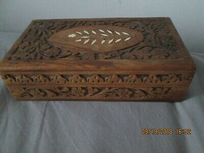 Vintage Wooden Box Hand Carved in India, floral Inlay to lid, Lined 8.5x5x2 inch