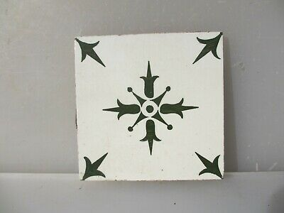 Vintage French Ceramic Tile Antique Floral Flower Star Fleur de lis -£5each