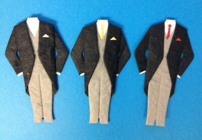 5 Groom Morning Suits Wedding Card Making Scrapbook Craft Embellishments Toppers